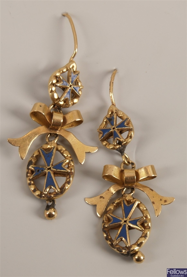 Pair of enamelled dropper earrings with a central