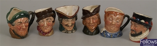 Six small Royal Doulton character jugs to include