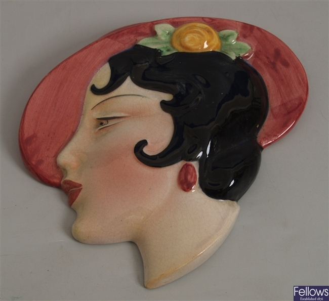 A Cope and Co. pottery wall mask modelled as the