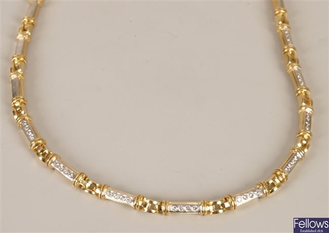 18ct bi-colour diamond necklet with nine central