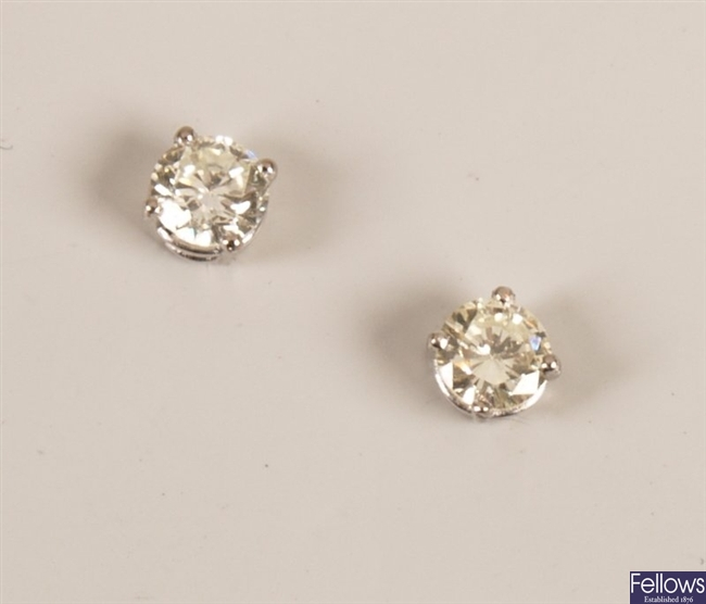 Pair of 18ct white gold single stone diamond stud
