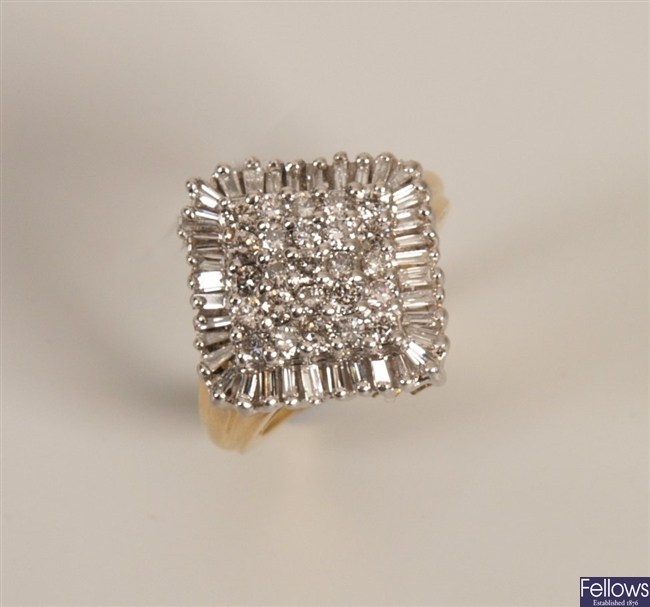 18k gold diamond cluster ring in a square design