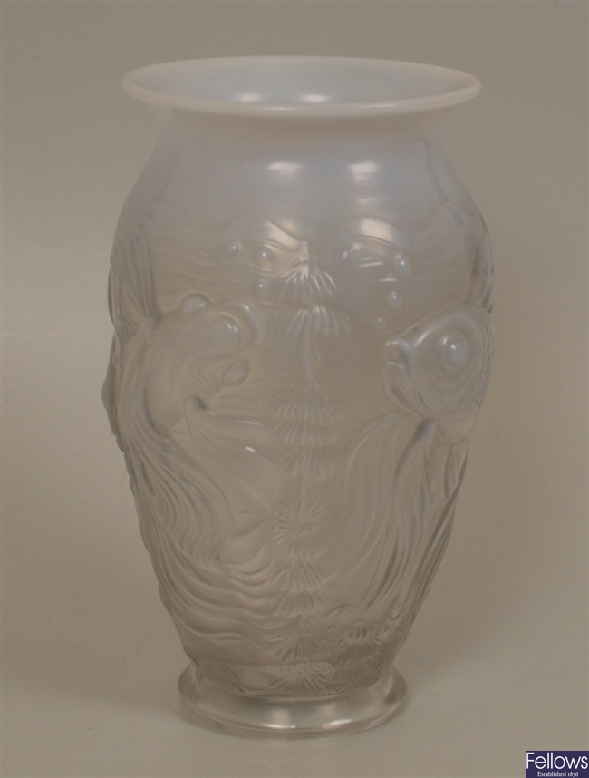 A Lalique style clear and opaque glass vase,