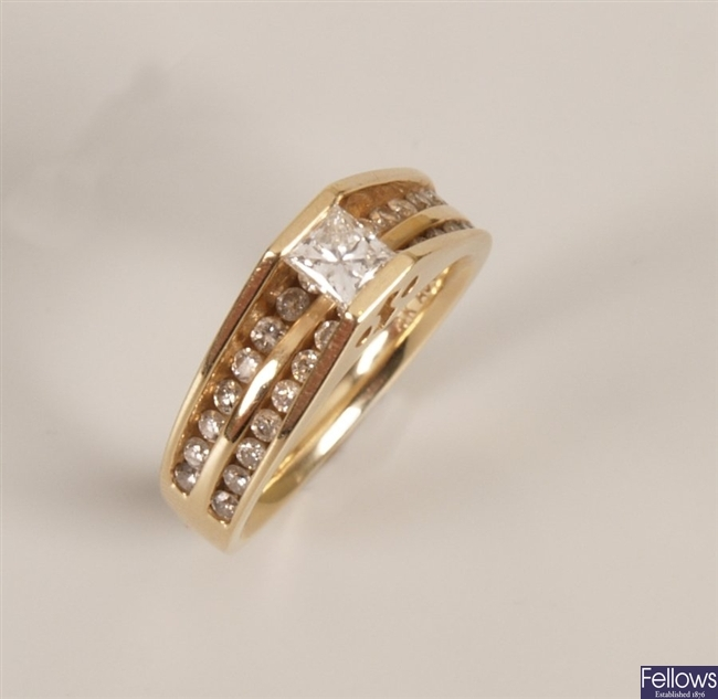 14k gold diamond ring with a single tension set