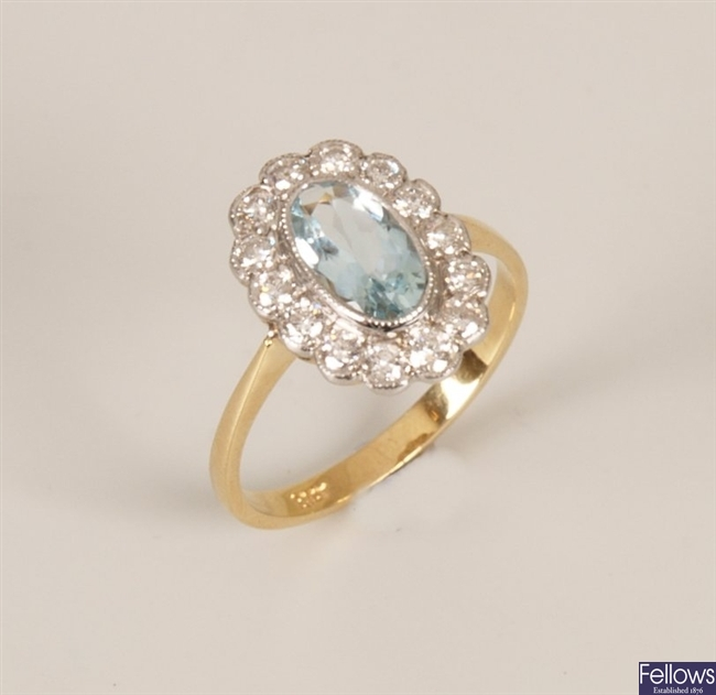 18ct gold aquamarine and diamond cluster ring