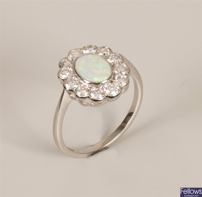 18ct white gold opal and diamond cluster ring