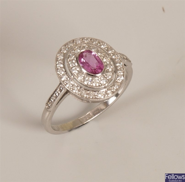 18ct white gold oval pink sapphire and diamond
