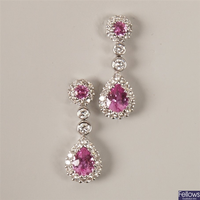 A pair of 18ct white gold pink sapphire and