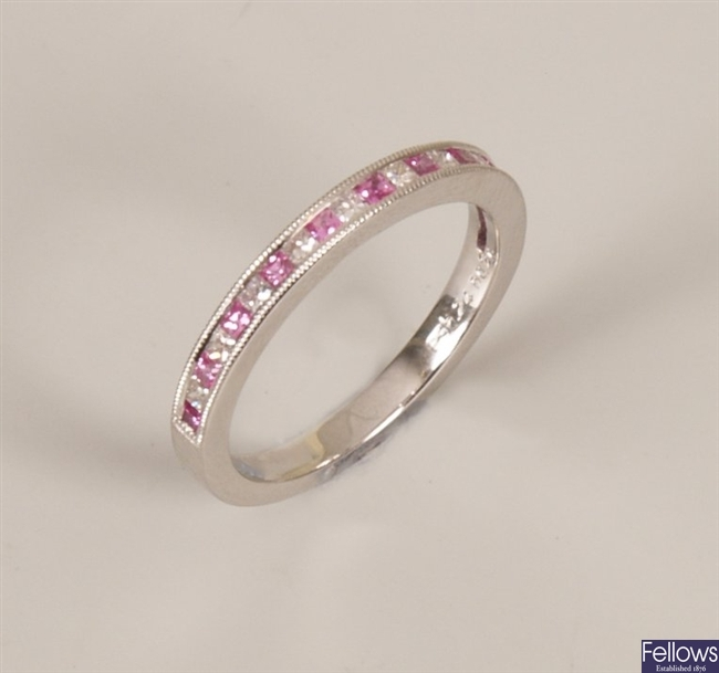 18ct white gold pink sapphire and diamond set