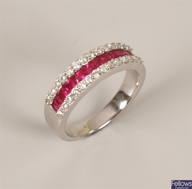 18ct white gold ruby and diamond set half hoop