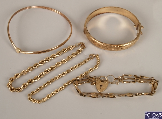 Two 9ct gold rope link bracelets, a 9ct gold