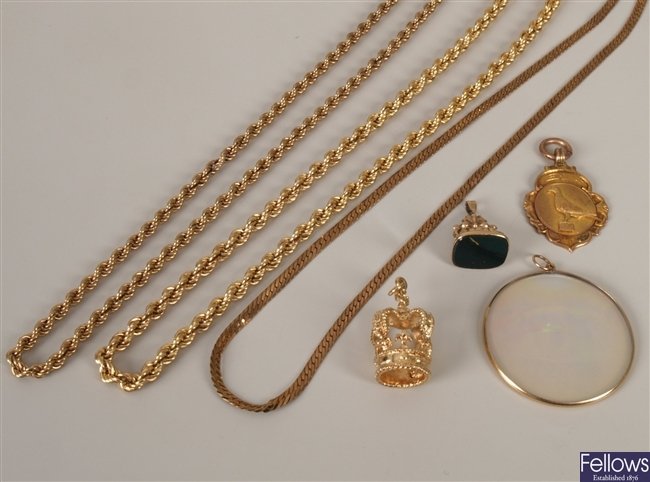 Two 9ct gold rope link chains, 50cms and 41cms in