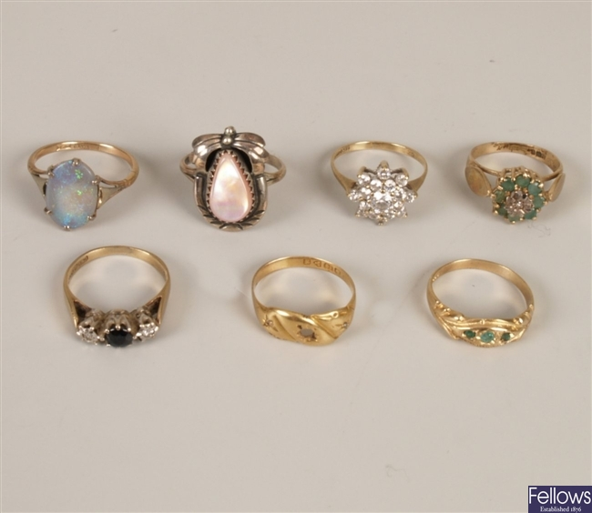 Seven assorted stone set rings to include an