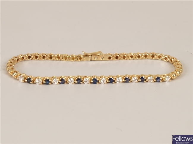Diamond and sapphire bracelet - a high carat gold