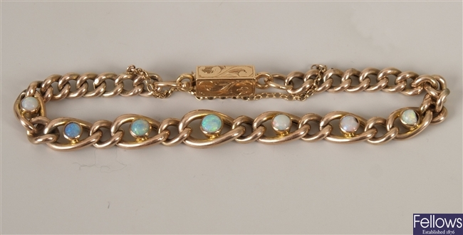 Edwardian gold curb link bracelet with seven