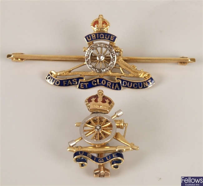 Two Royal Artillery brooches