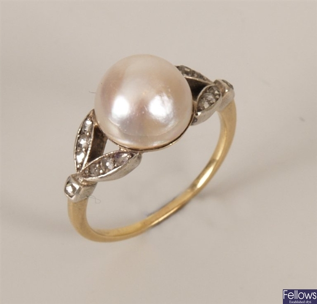 Continental bouton pearl ring with rose cut