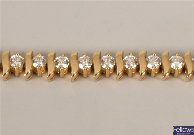 Diamond line bracelet with round brilliant