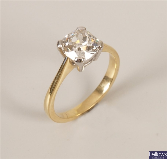 18ct gold single stone diamond ring set an old