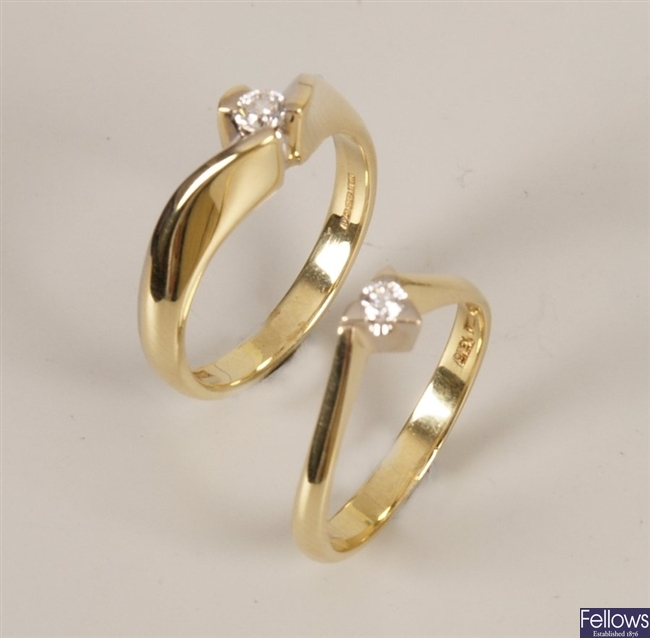 Two 18ct gold diamond rings to include a single