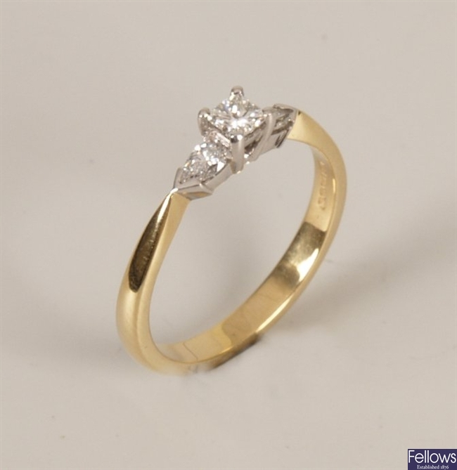 18ct gold three stone diamond ring with a