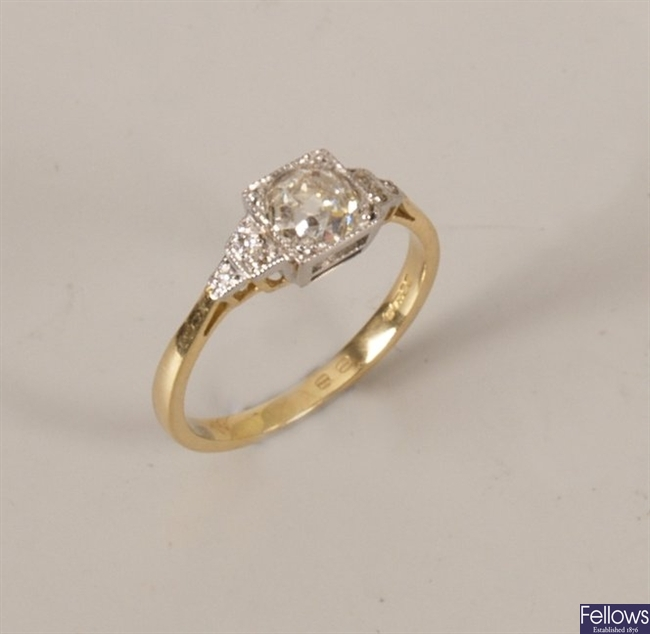 18ct gold mounted single stone old cut diamond