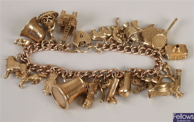 9ct rose gold curb link bracelet with yellow gold