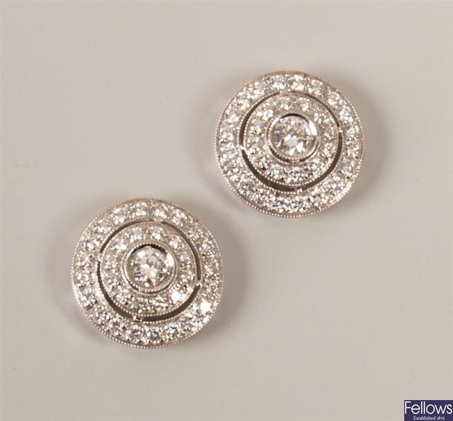 Pair of 18ct white gold diamond set three tier