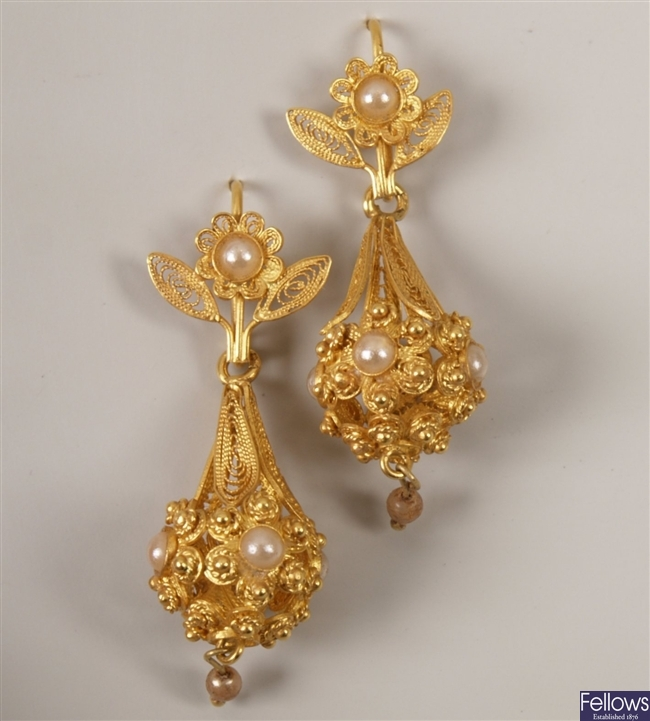 Pair of continental gold filigree bell shape
