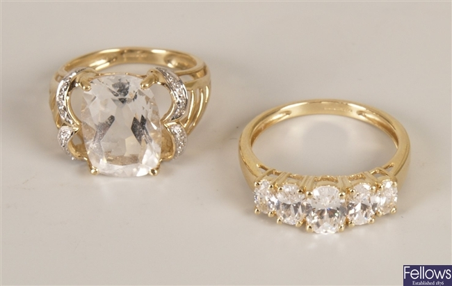 Two rings, to include a 14ct gold five stone oval
