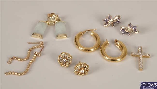 Six items, to include a pair of 9ct gold hollow
