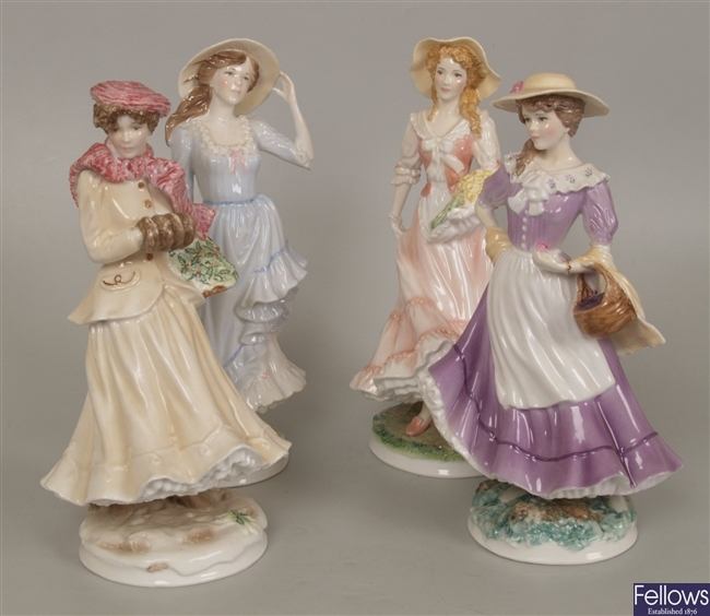 A set of four Royal Worcester bone china limited