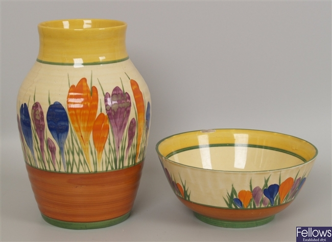 A Clarice Cliff Crocus pattern Isis vase, with