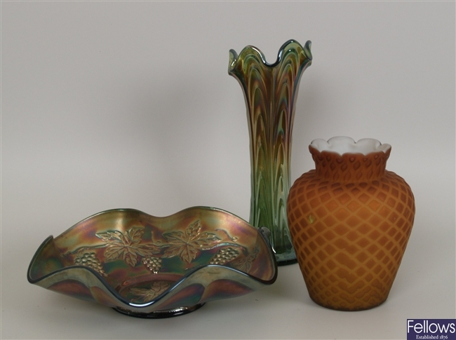 Two items of carnival glass together with two