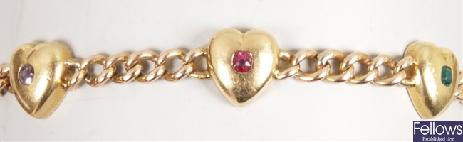 Late Victorian gold mounted multi gem set
