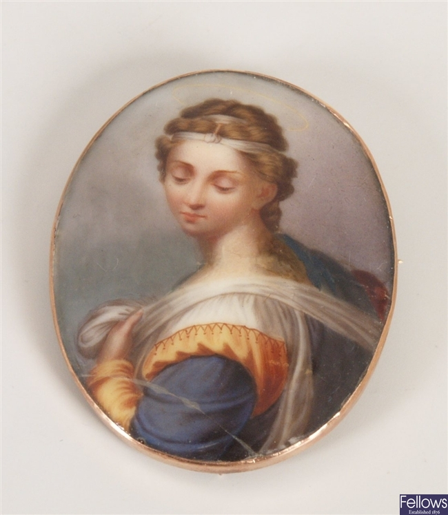 9ct gold mounted, oval hand painted portrait of a