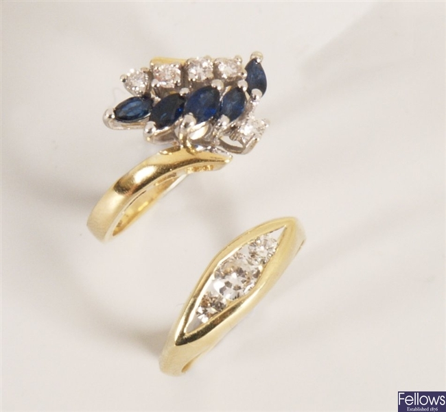 Two rings, to include an 18ct gold sapphire and