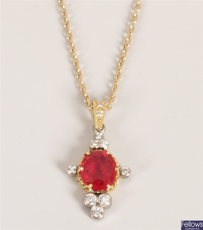 18ct gold red spinel and diamond set pendant,