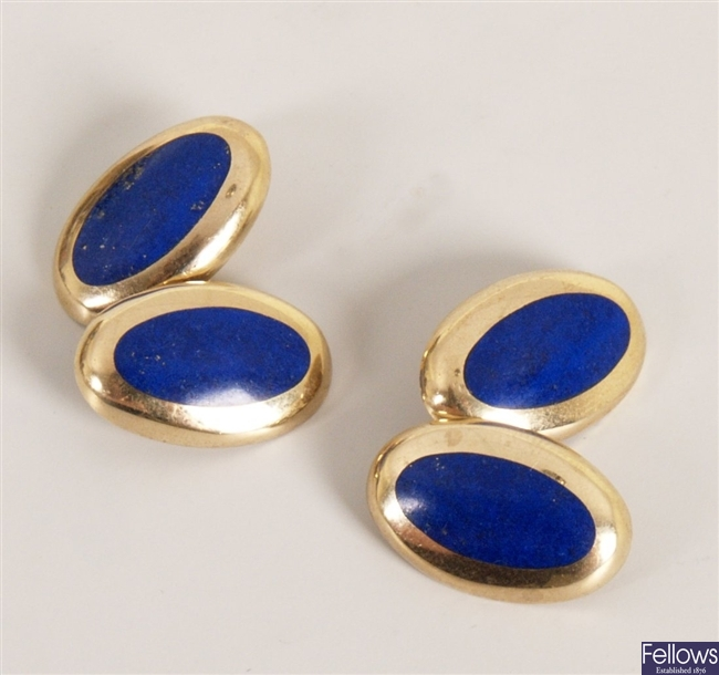 A pair of 9ct gold oval lapis lazuli set chain
