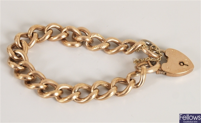 9ct gold hollow curb link bracelet with alternate