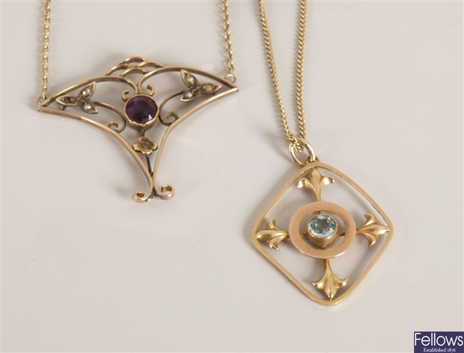Two Edwardian pendants to include an amethyst and