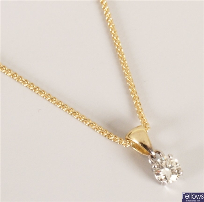18ct yellow gold diamond pendent in a four claw