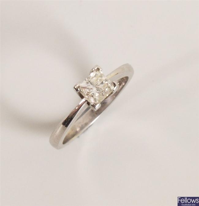 18ct white gold princess cut diamond ring in a