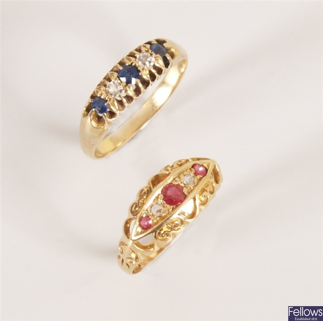 18ct gold ruby and diamond boat ring together