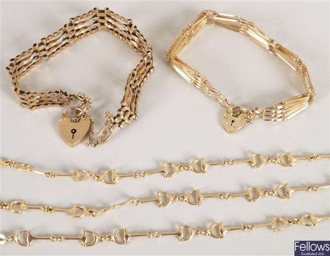 Three 9ct gold identical link design bracelets
