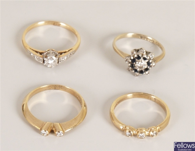 Four 9ct gold diamond set ladies rings to include