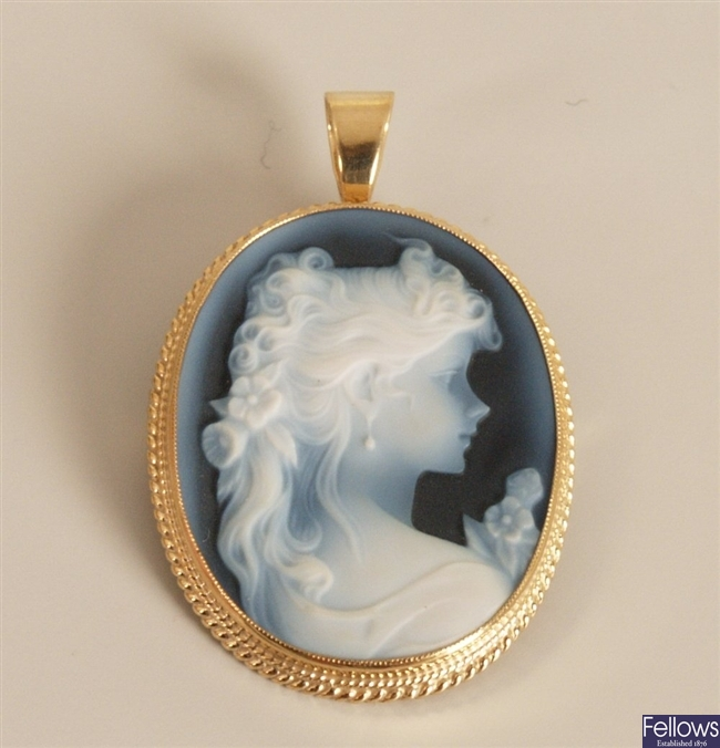 A 9ct gold oval blue hard stone cameo set brooch,