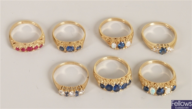 Seven 9ct gold gem set rings, to include a 9ct