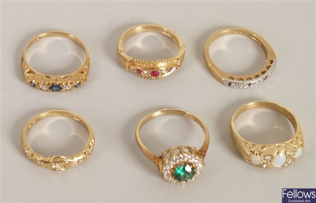 Six 9ct gold gem set rings, to include a five