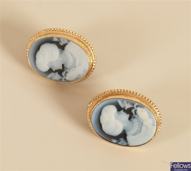 A pair of 9ct gold oval hard stone laser cameo